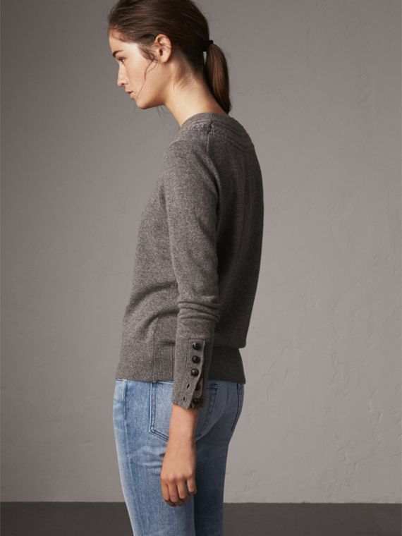 Cable Knit Yoke Cashmere Sweater in Mid Grey Melange - Women | Burberry - cell image 2