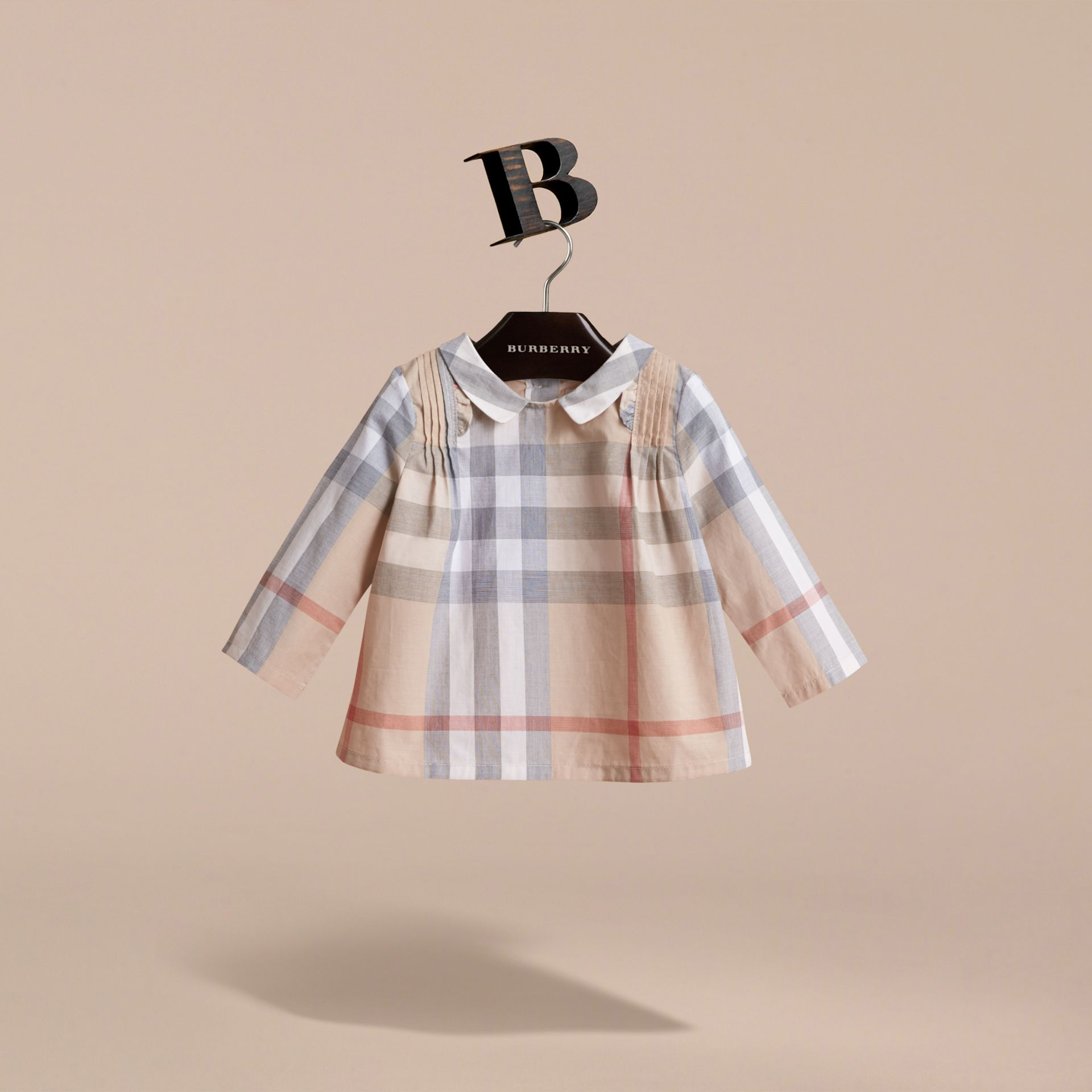 Peter Pan Collar Pintuck Detail Check Cotton Top in Pale Stone | Burberry - gallery image 3