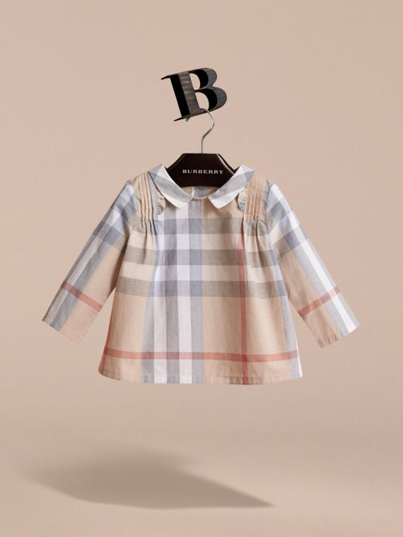 Peter Pan Collar Pintuck Detail Check Cotton Top in Pale Stone | Burberry - cell image 2