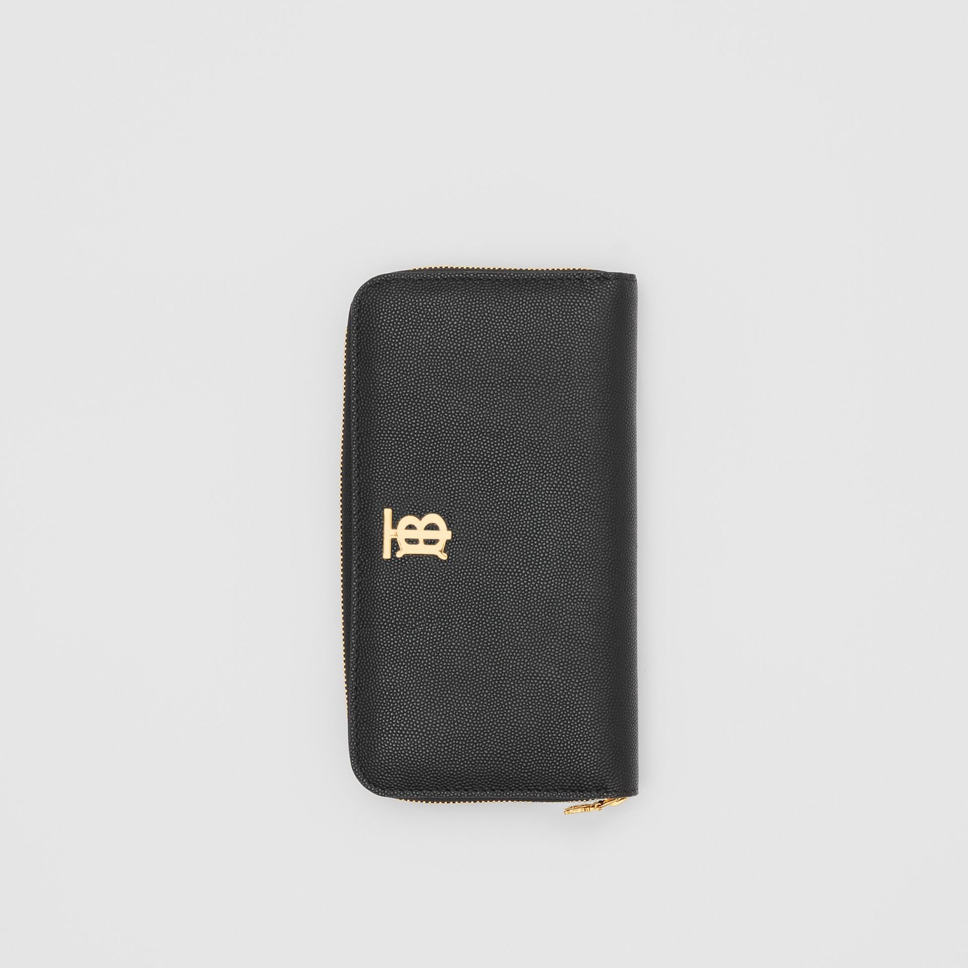 Portefeuille zippé en cuir grainé Monogram (Noir) - Femme | Burberry Canada - photo de la galerie 2