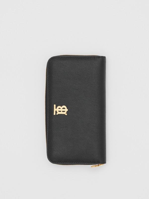 Portefeuille zippé en cuir grainé Monogram (Noir) - Femme | Burberry Canada - cell image 2