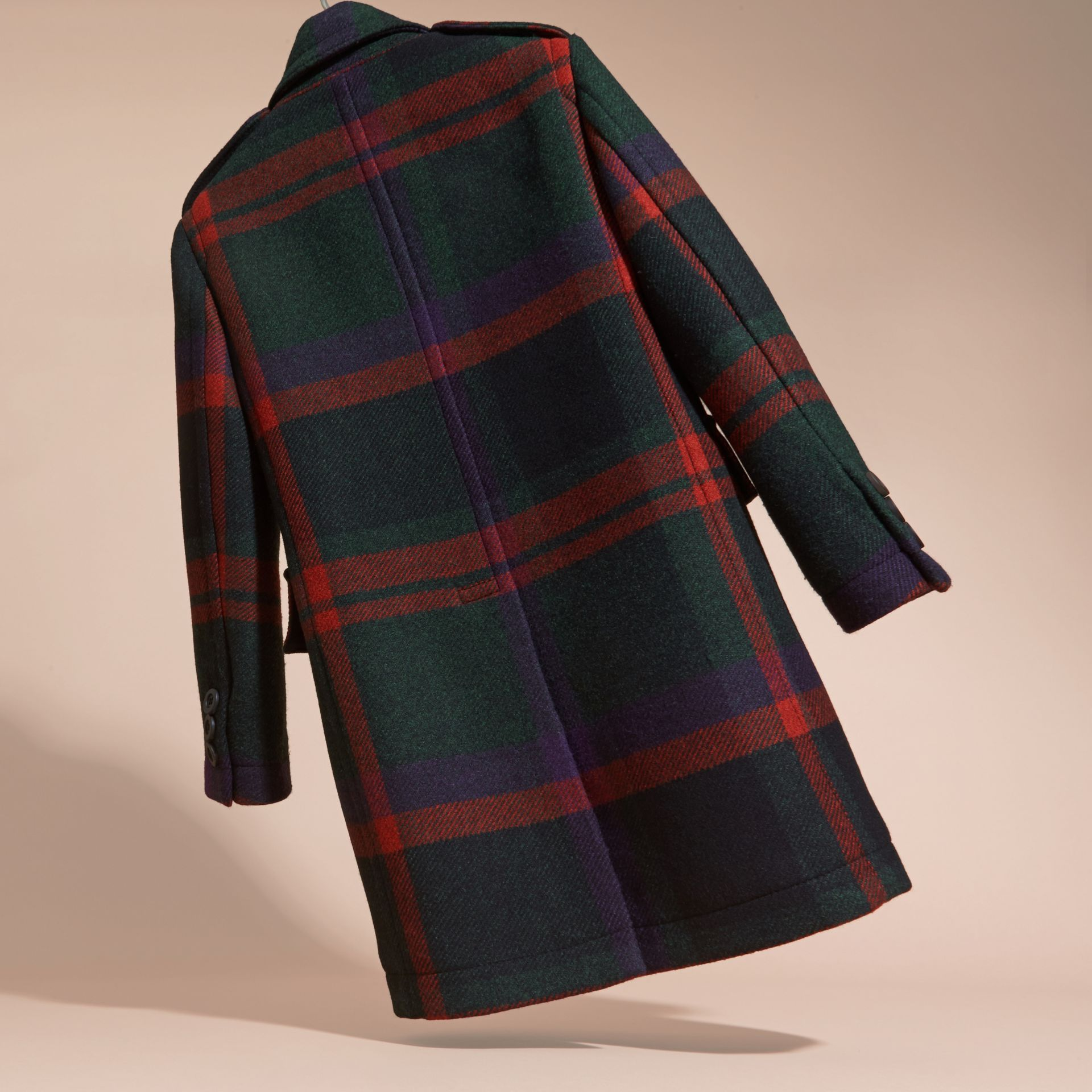 Dark teal Check Wool Topcoat - gallery image 4
