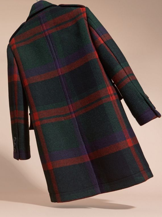 Dark teal Check Wool Topcoat - cell image 3