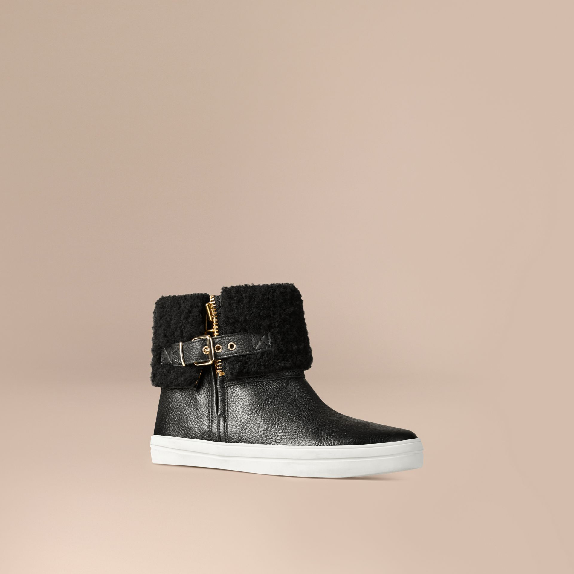 Shearling-lined Grainy Leather Ankle Boots in Black - Women | Burberry United States - gallery image 0