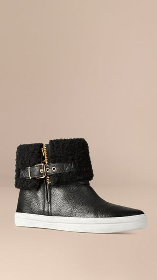 Shearling-lined Grainy Leather Ankle Boots