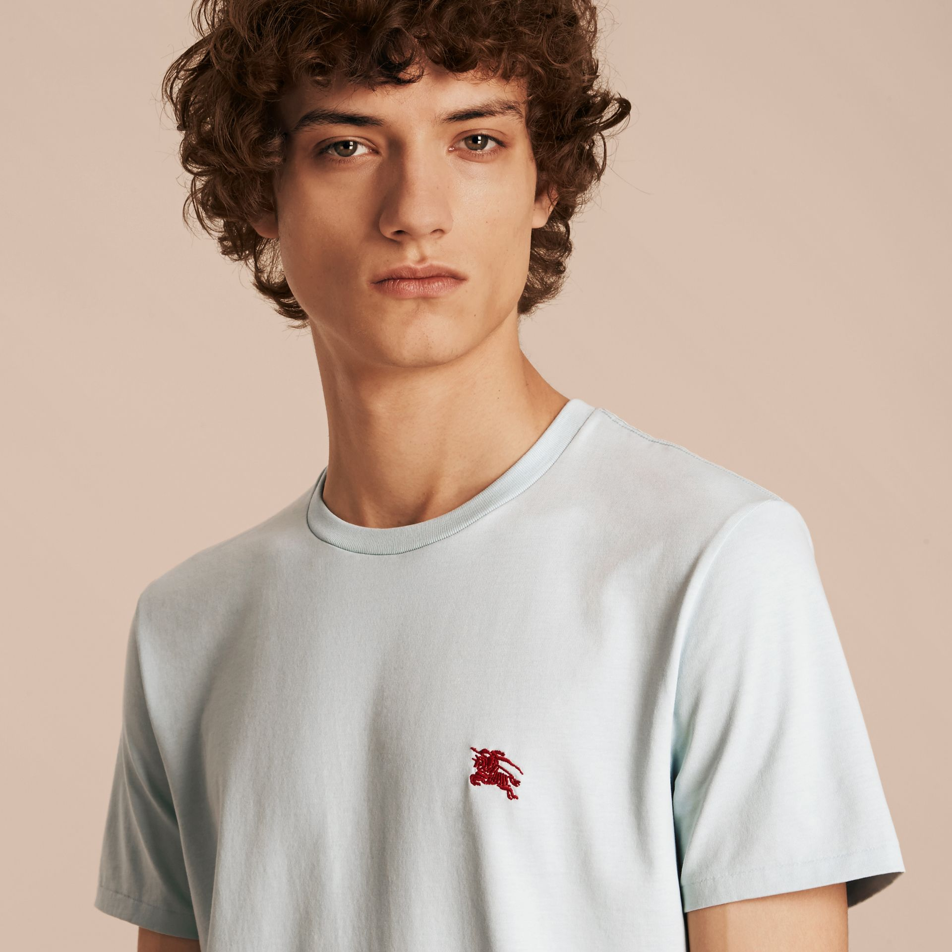 Cotton Jersey T-shirt in Pale Opal Blue - Men | Burberry - gallery image 5