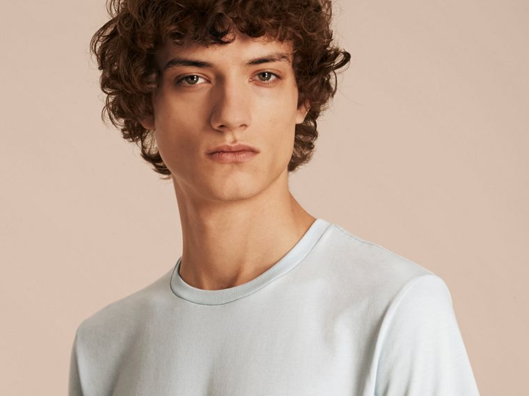 Cotton Jersey T-shirt in Pale Opal Blue - Men | Burberry - cell image 4