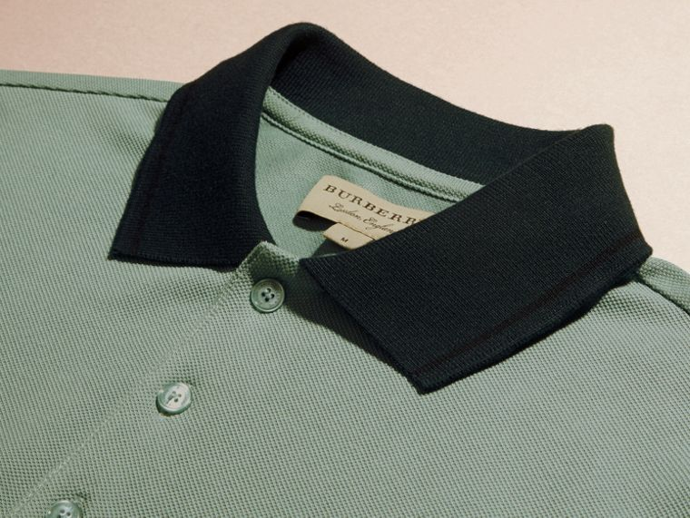 Chalk green/black Contrast Trim Cotton Piqué Polo Shirt Chalk Green/black - cell image 1