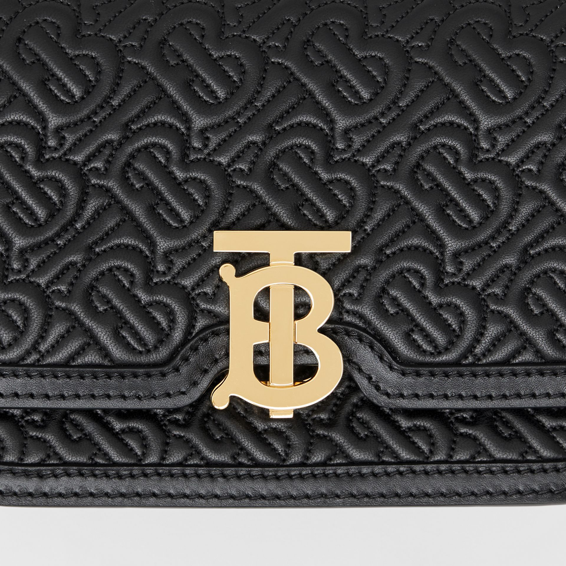 Belted Quilted Monogram Lambskin TB Bag in Black - Women | Burberry Singapore - gallery image 1