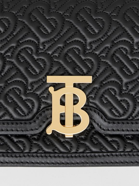 Belted Quilted Monogram Lambskin TB Bag in Black - Women | Burberry United States - cell image 1
