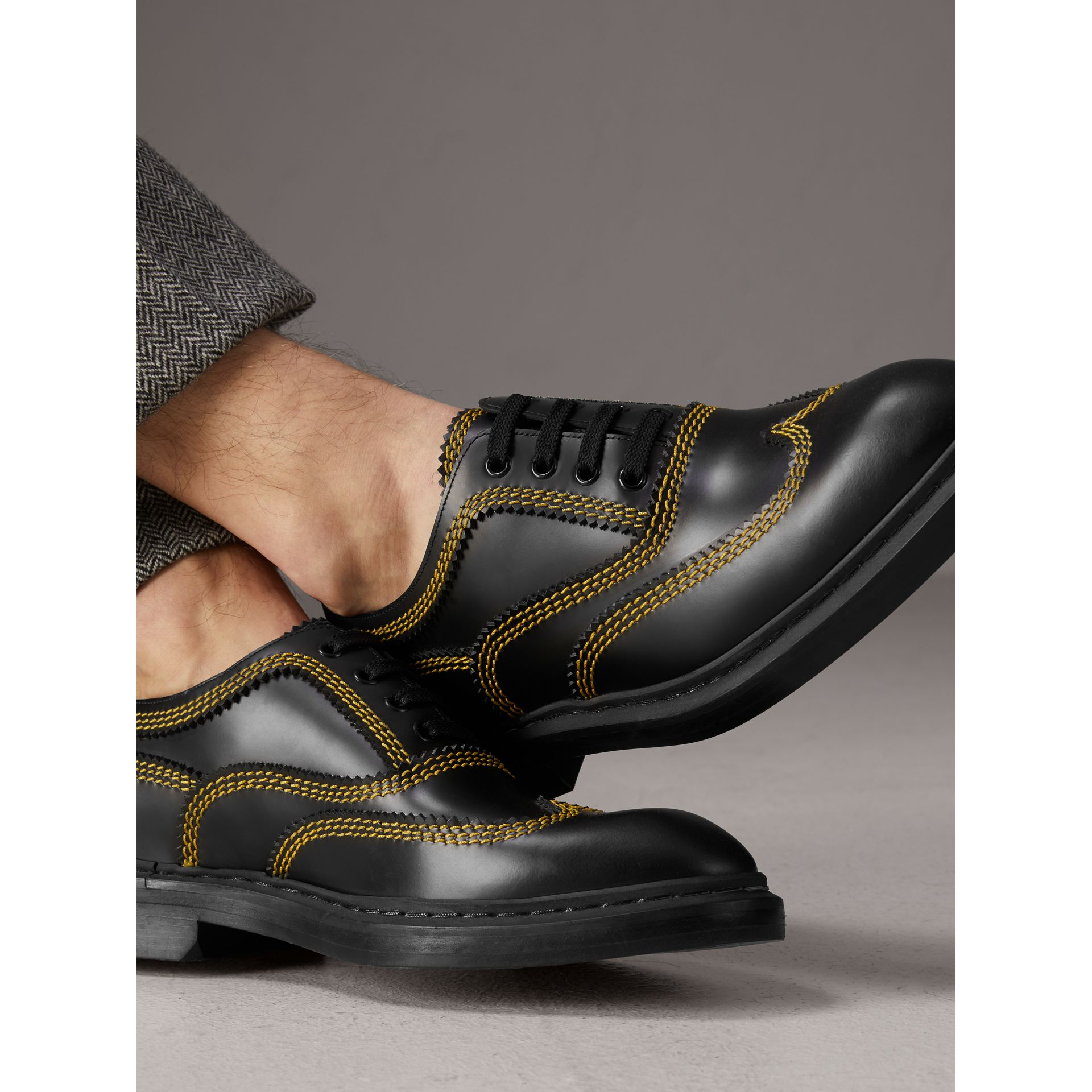 Topstitched Leather Derby Shoes in Black - Men | Burberry - gallery image 2