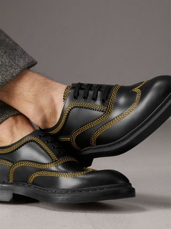 Topstitched Leather Derby Shoes in Black - Men | Burberry Australia - cell image 2