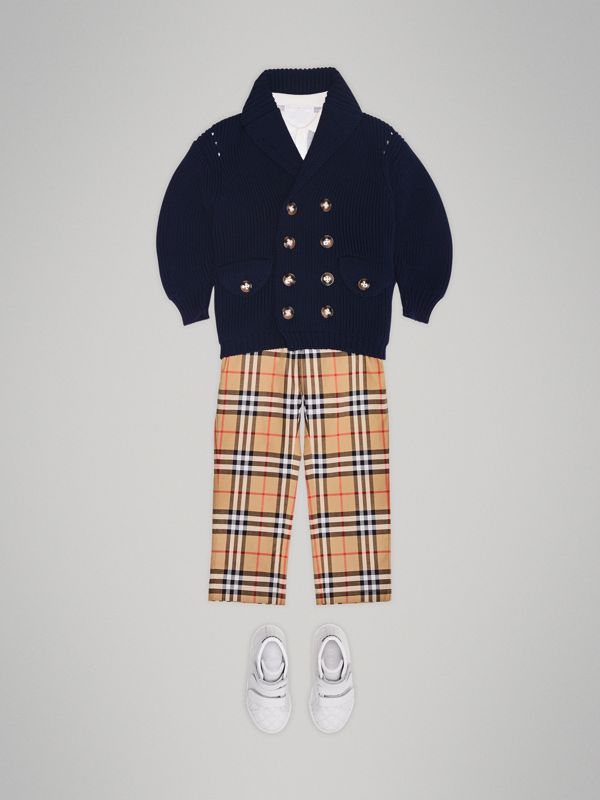 Vintage Check Cotton Tailored Trousers in Antique Yellow - Boy | Burberry - cell image 2