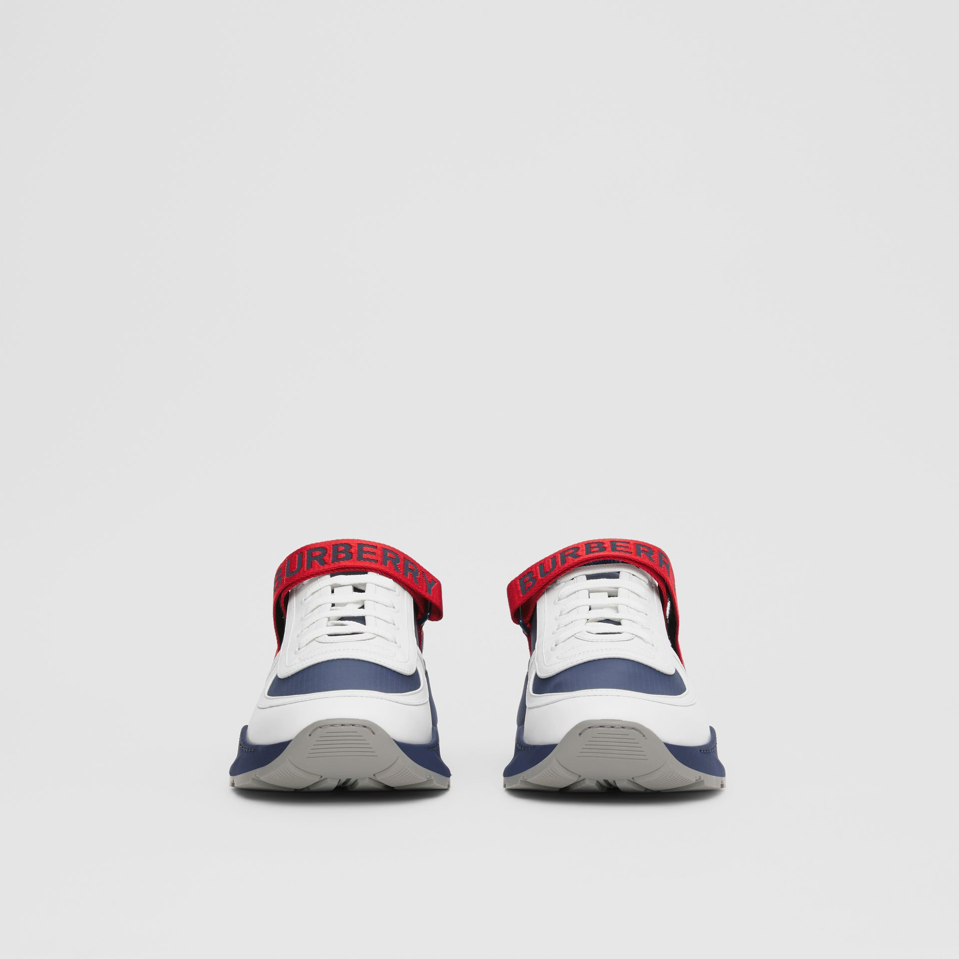 Logo Detail Leather and Suede Sneakers in Navy - Men | Burberry Canada - gallery image 2