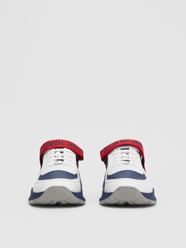 Logo Detail Leather and Suede Sneakers in Navy - Men | Burberry Canada - cell image 2