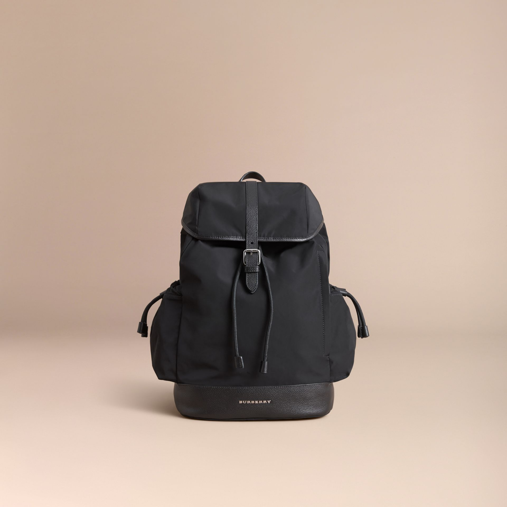 Leather Trim Baby Changing Rucksack in Black | Burberry Australia - gallery image 3