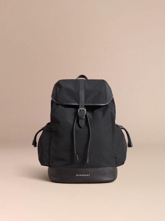 Leather Trim Baby Changing Rucksack in Black | Burberry Australia - cell image 2