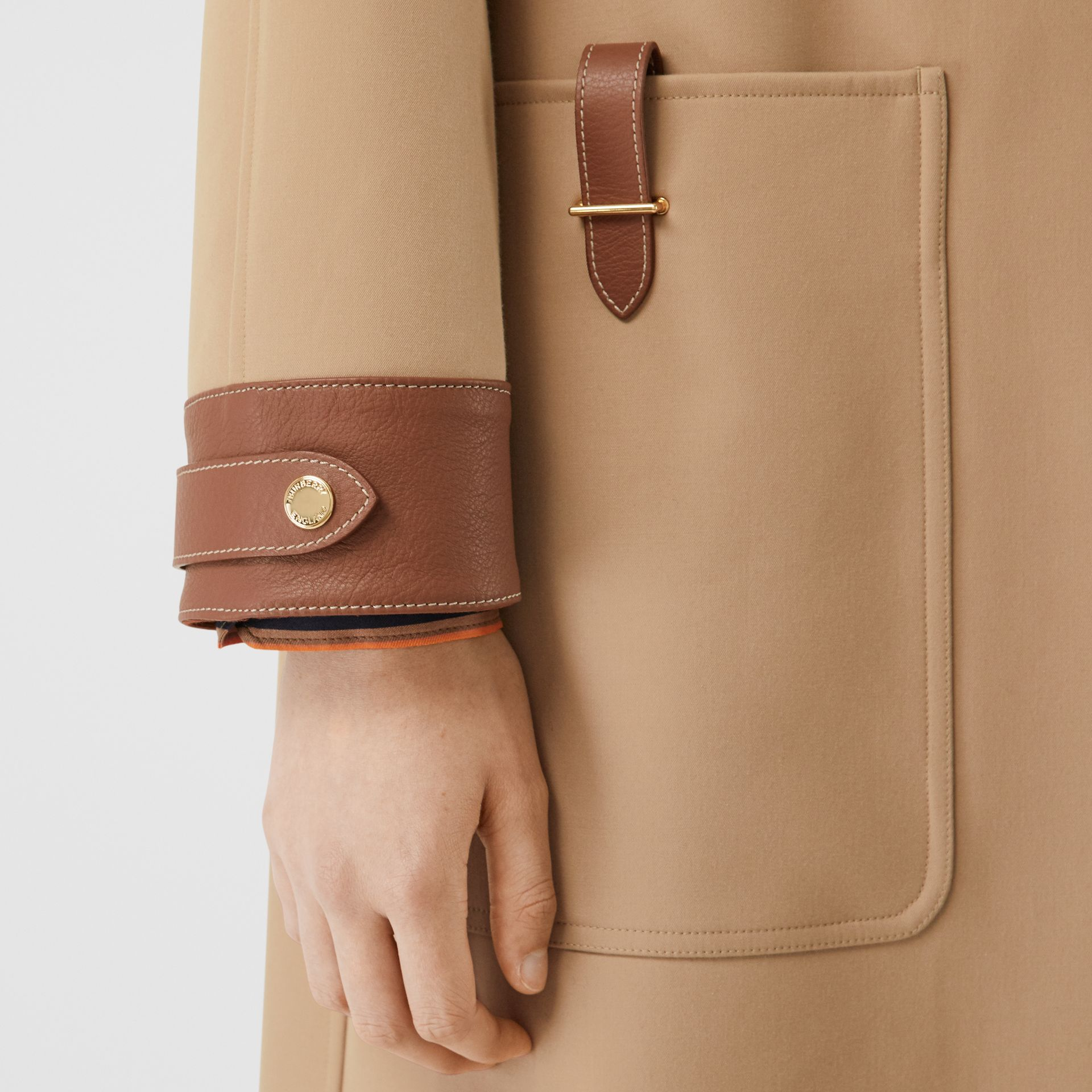 Leather Trim Bonded Cotton Lab Coat in Biscuit - Women | Burberry - gallery image 4