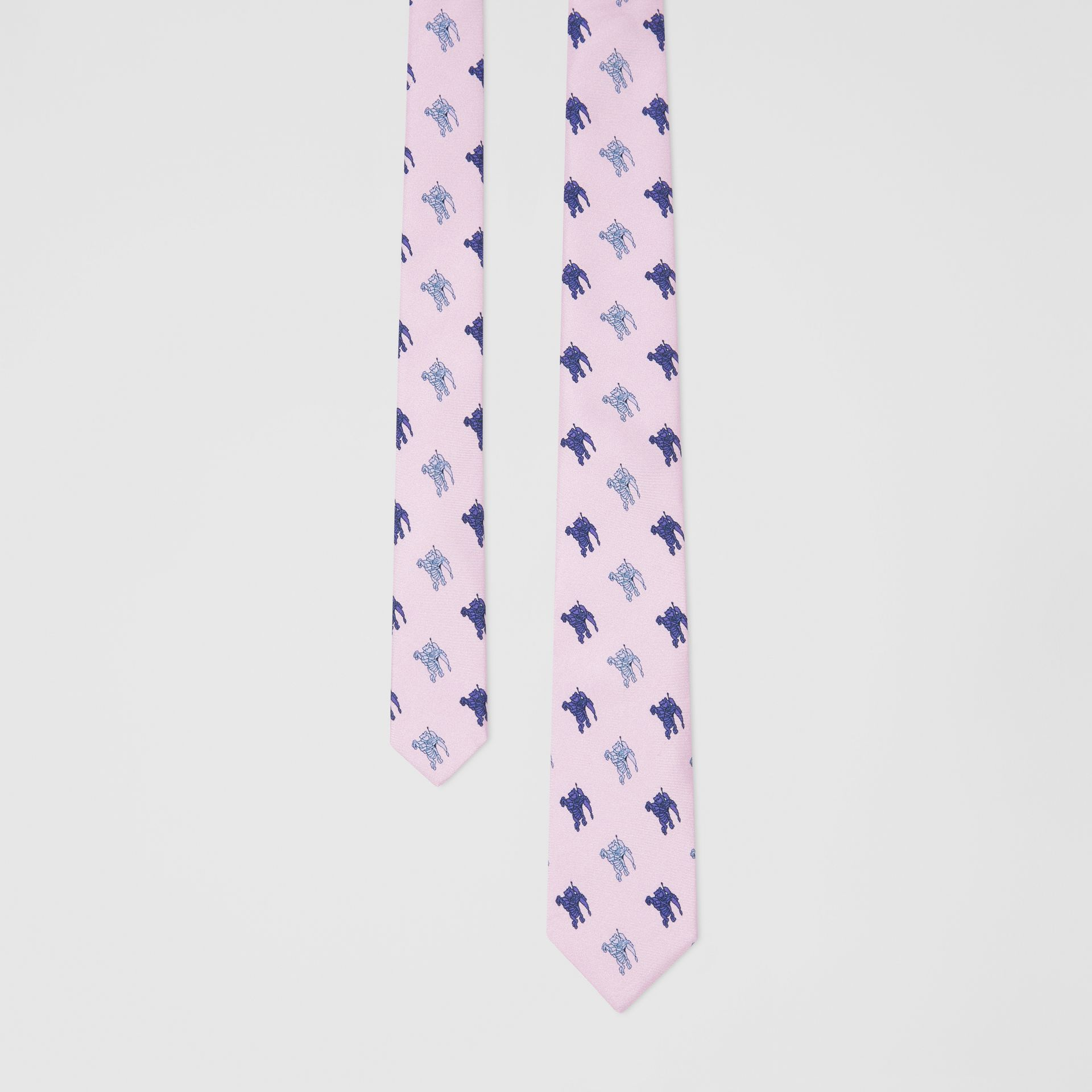 Slim Cut Equestrian Knight Print Silk Tie in Pale Heather - Men | Burberry - gallery image 0