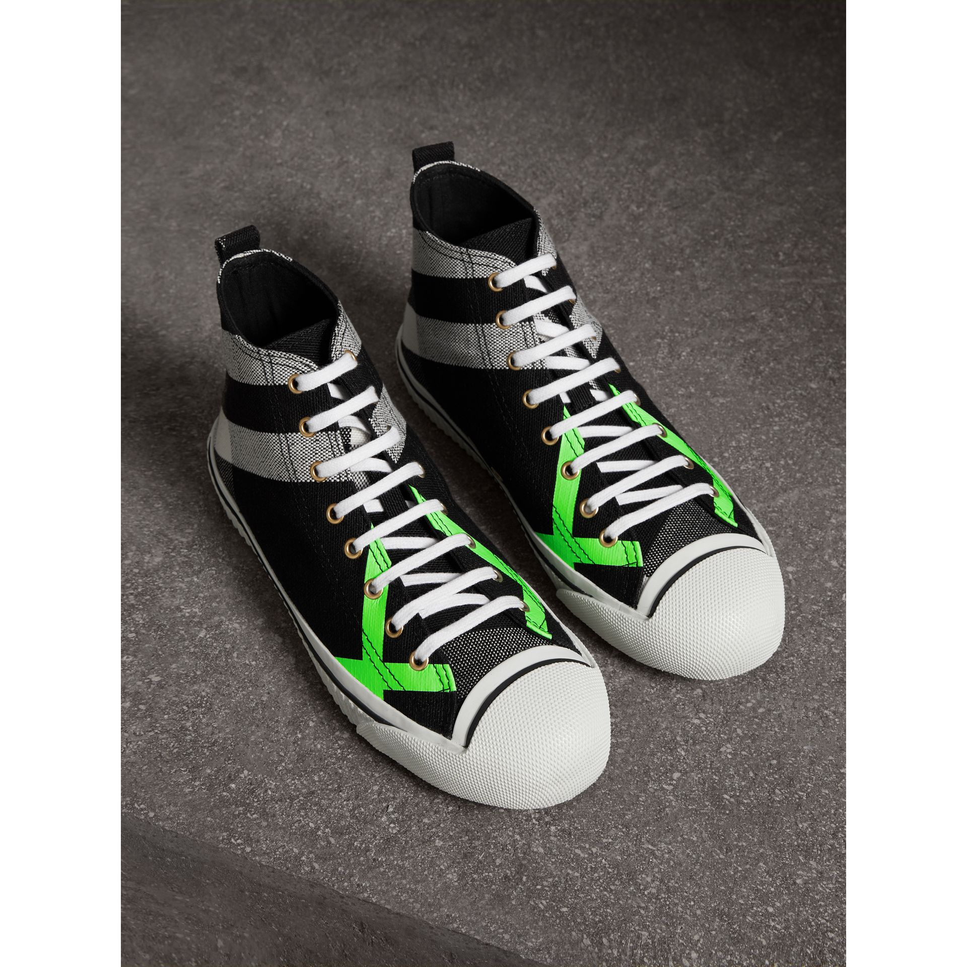 Canvas Check and Leather High-top Sneakers in Black/neon Green - Men | Burberry Australia - gallery image 0