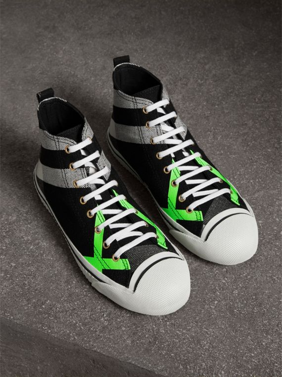 Canvas Check and Leather High-top Sneakers in Black/neon Green