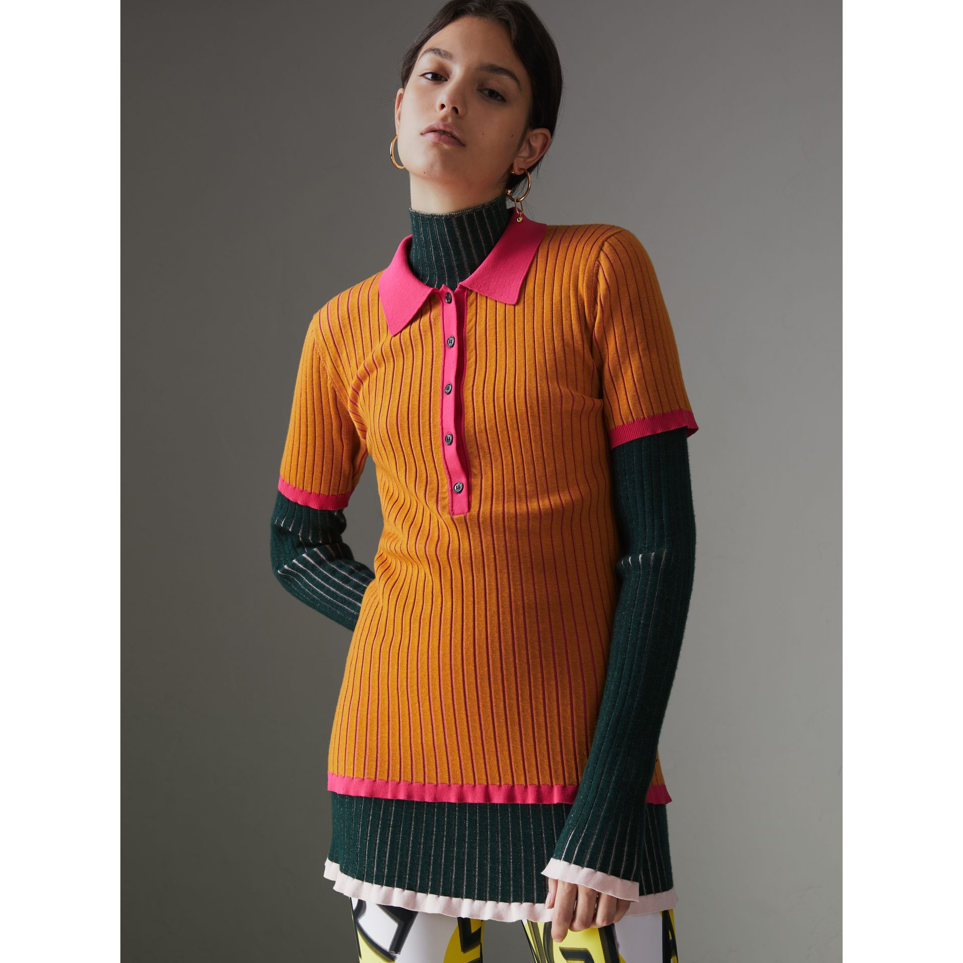 Two-tone Cashmere Silk Polo Shirt in Ochre Yellow - Women | Burberry - gallery image 0