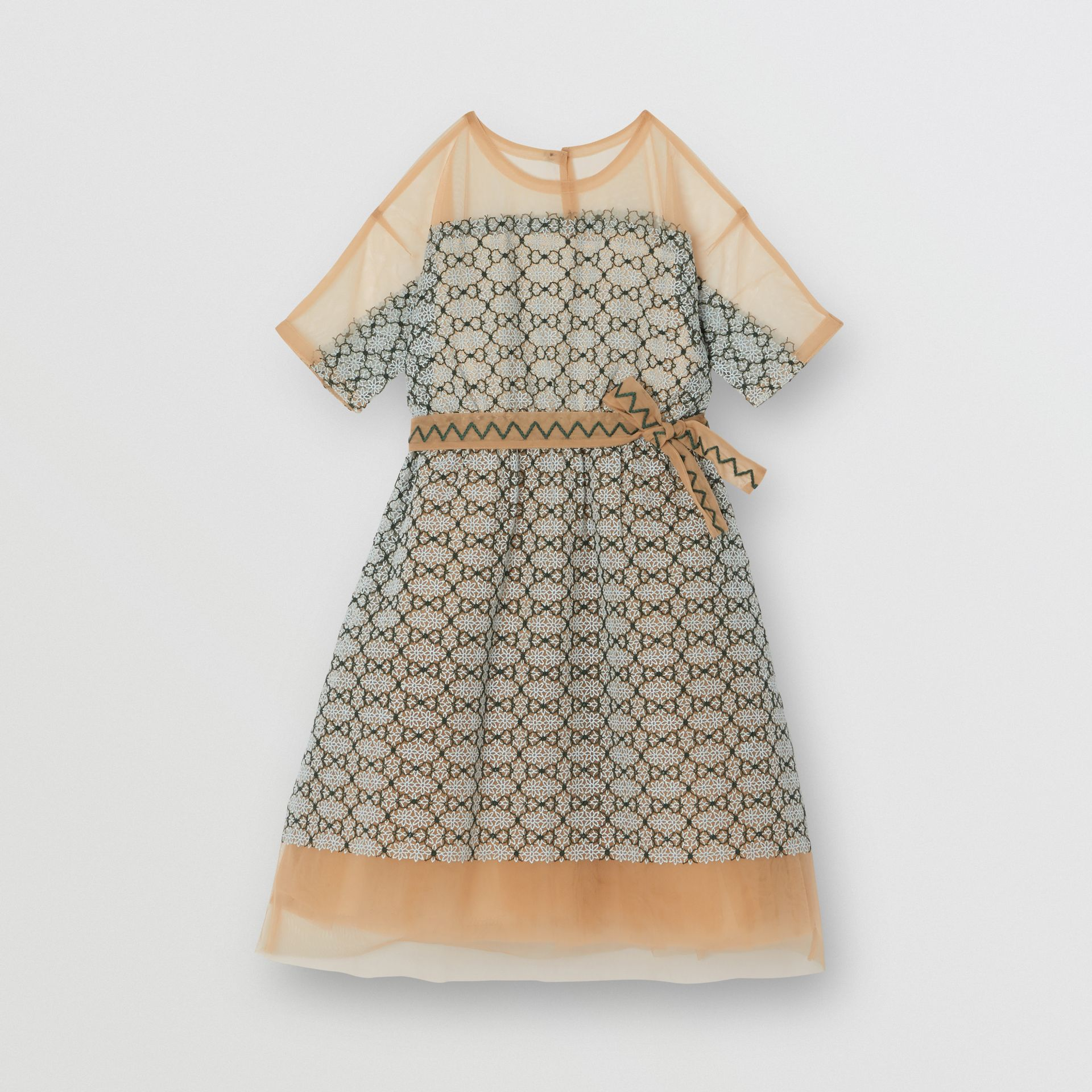 Short-sleeve Embroidered Tulle Dress in Light Blue - Children | Burberry - gallery image 3