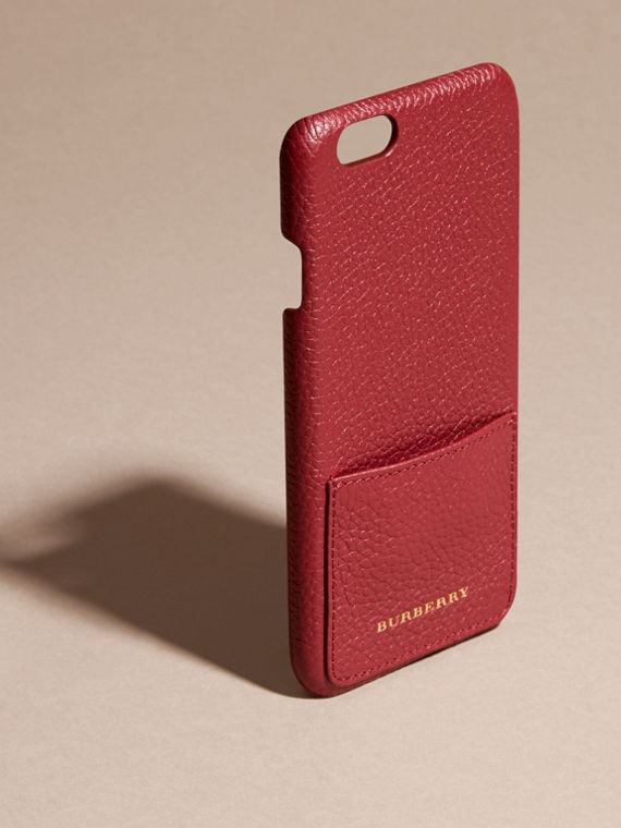 Grainy Leather iPhone 6 Case in Parade Red | Burberry - cell image 2