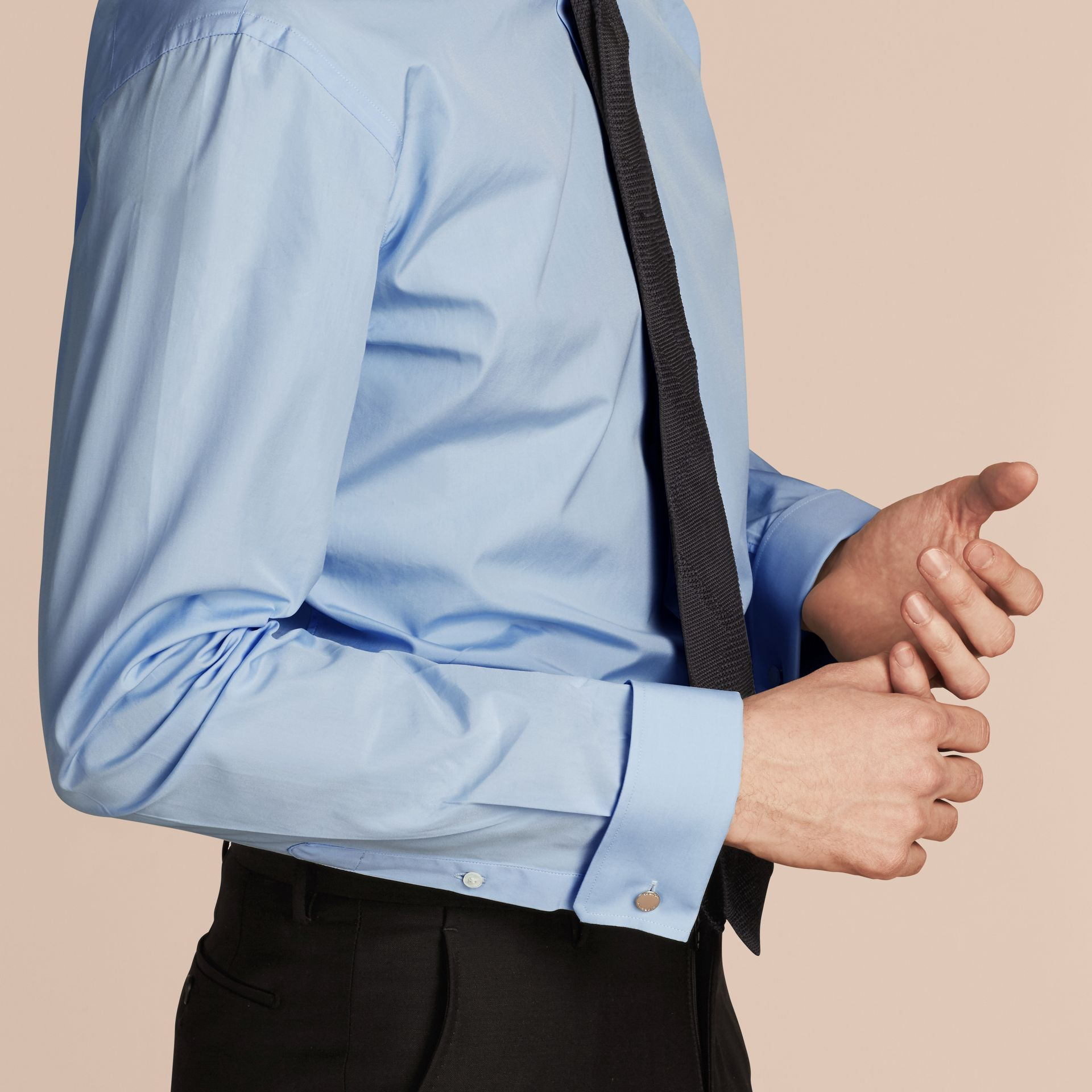 City blue Modern Fit Double-cuff Cotton Poplin Shirt City Blue - gallery image 5