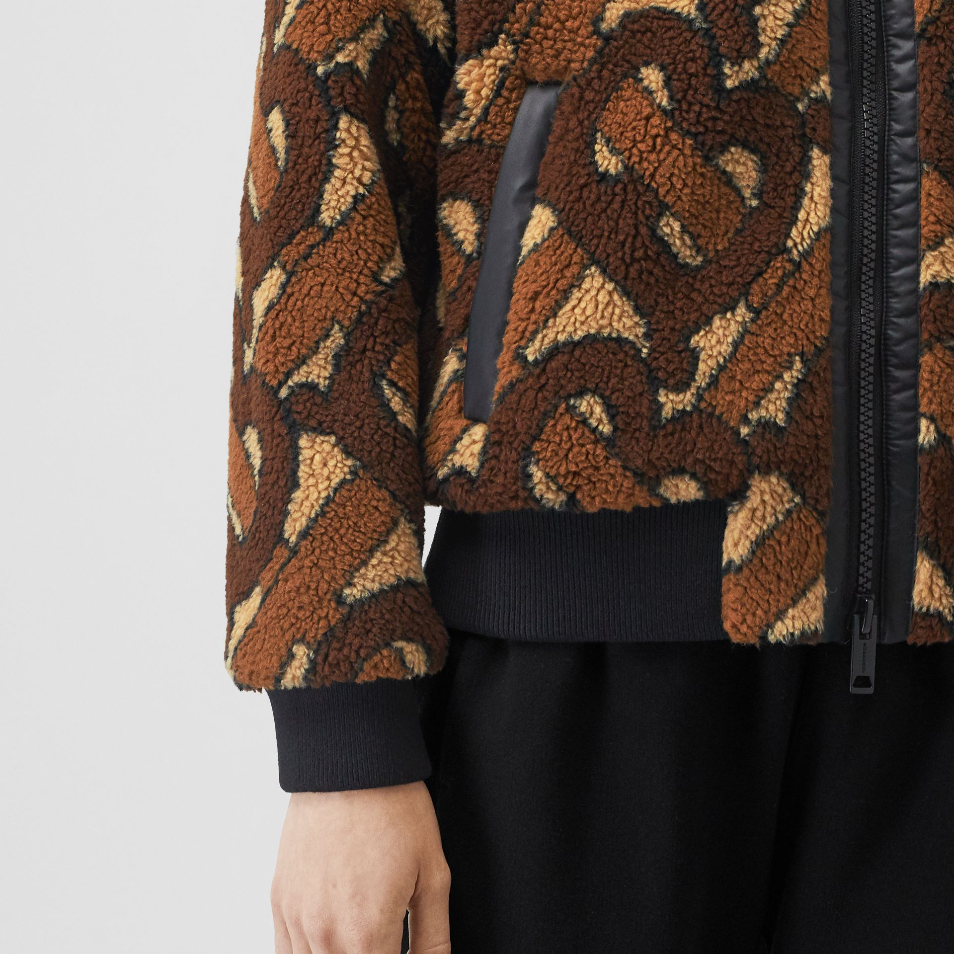 Monogram Fleece Jacquard Jacket in Bridle Brown - Women | Burberry United States - gallery image 4