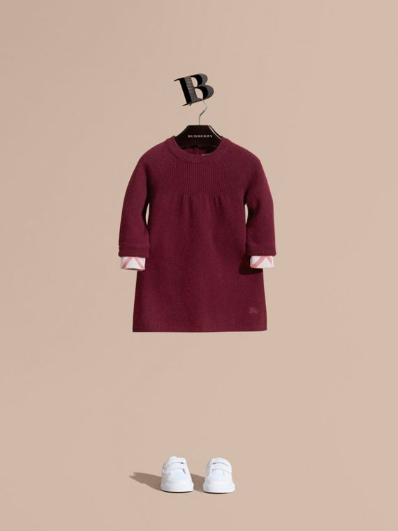 Check Cuff Knitted Cashmere Dress in Mahogany Red