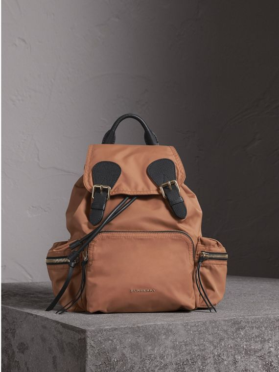 The Medium Rucksack in Technical Nylon and Leather in Light Flax
