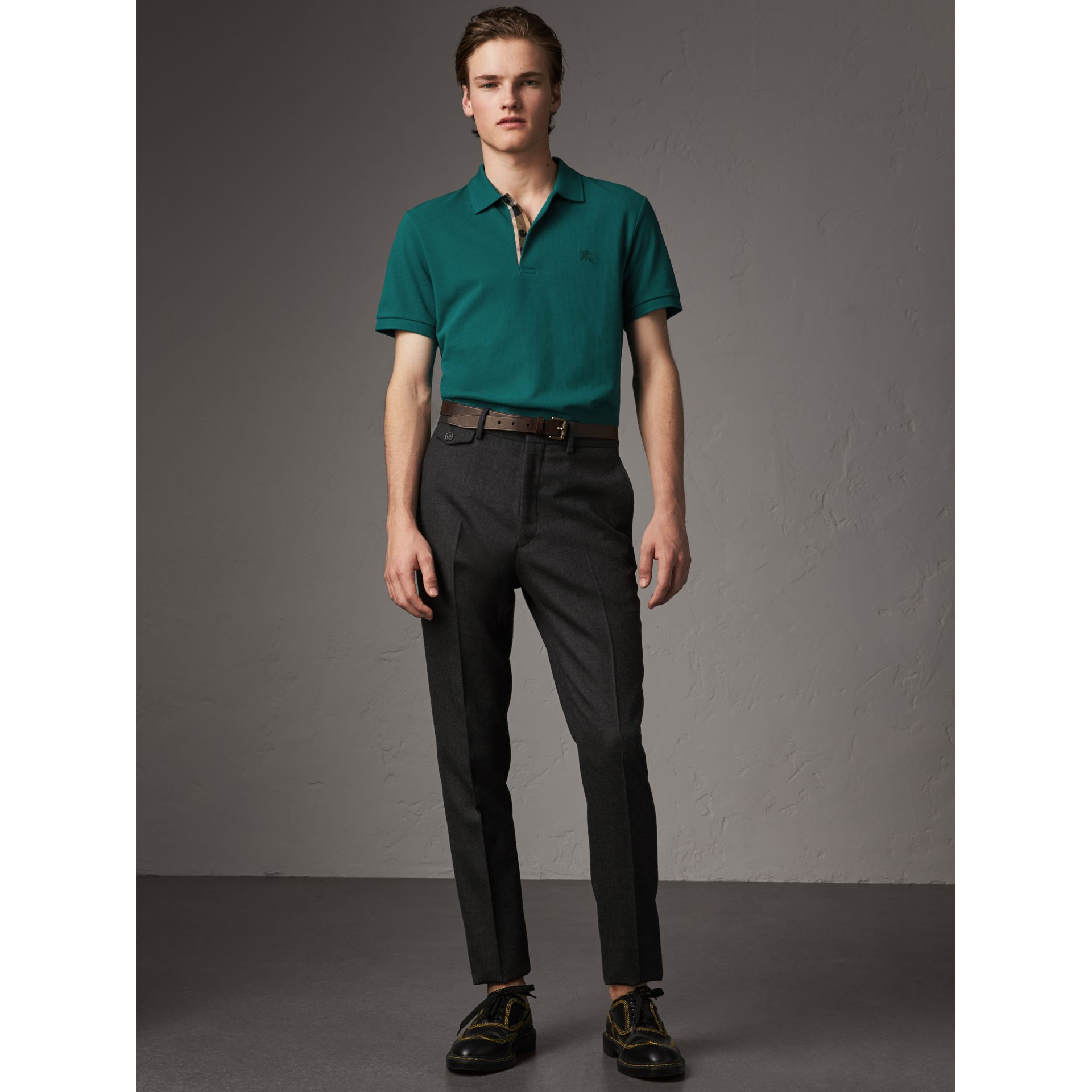 Check Placket Cotton Piqué Polo Shirt in Pine Green - Men | Burberry - gallery image 4