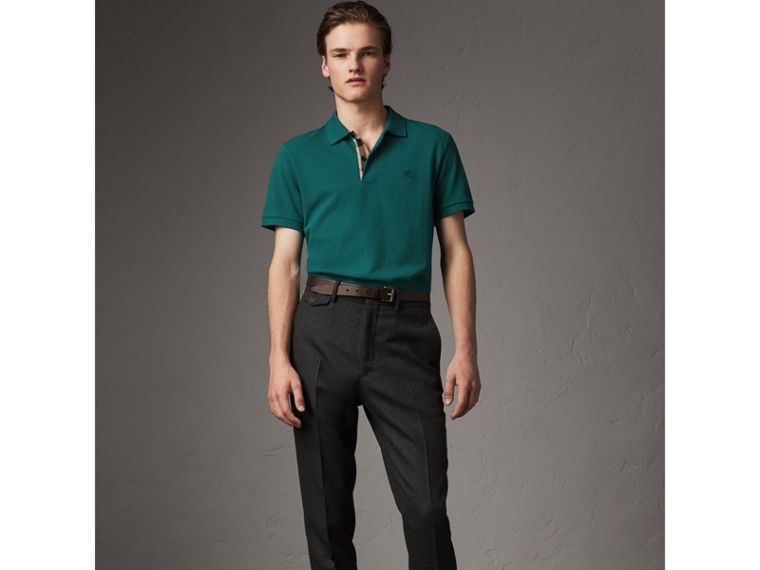 Check Placket Cotton Piqué Polo Shirt in Pine Green - Men | Burberry United States - cell image 4