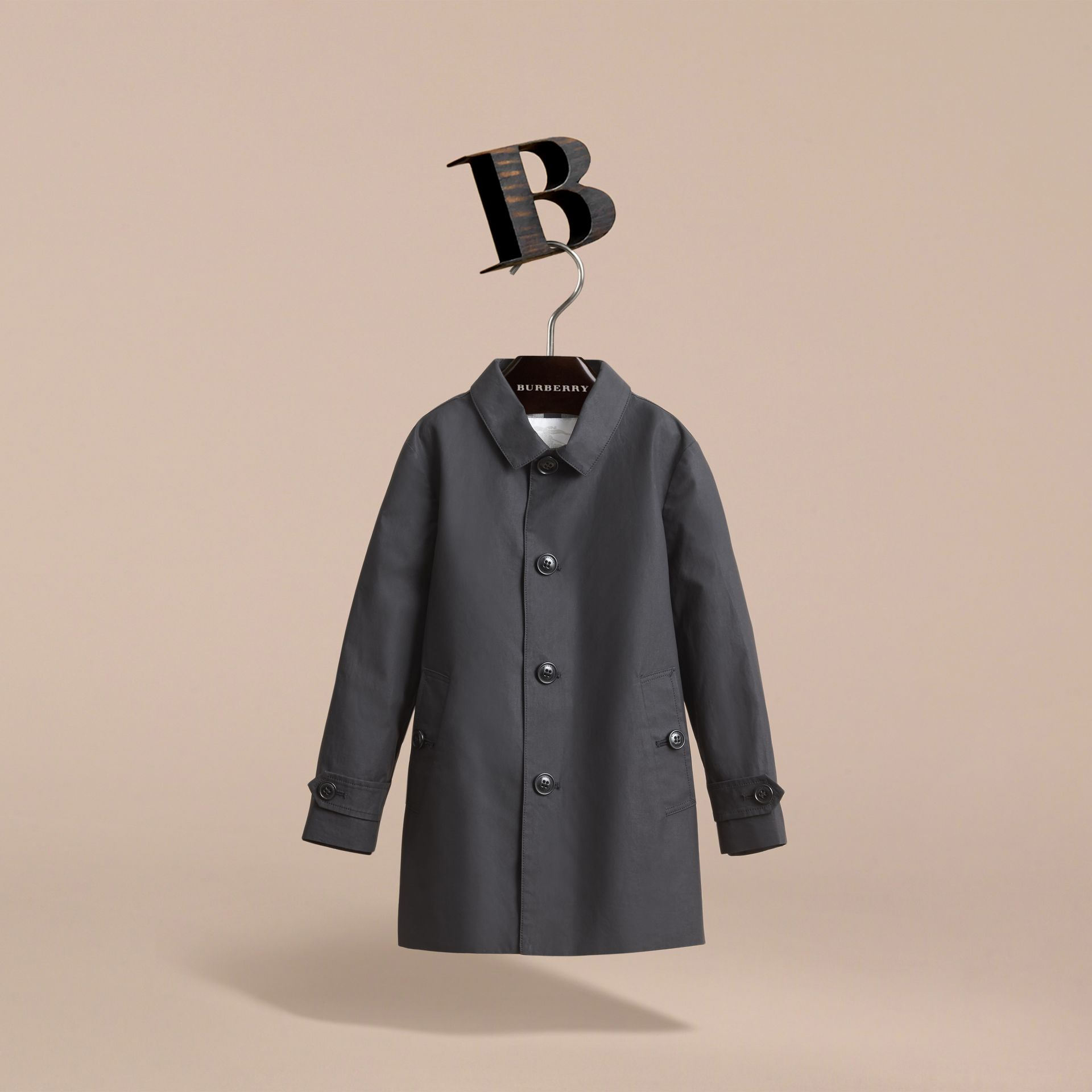 Mercerised Cotton Car Coat in Black - Boy | Burberry - gallery image 3