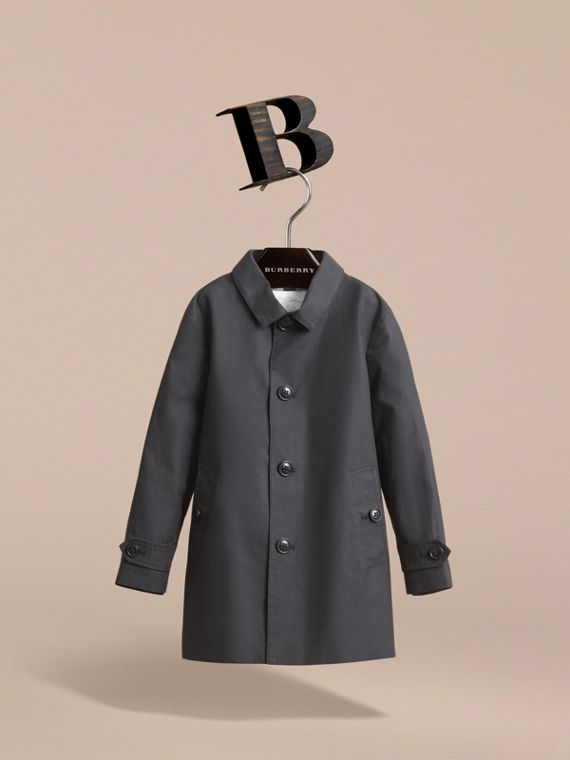 Mercerised Cotton Car Coat in Black - Boy | Burberry Singapore - cell image 2