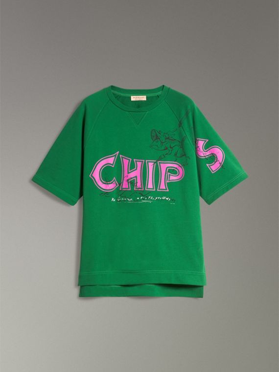 Fish and Chips Print Cotton Sweatshirt in Pigment Green - Women | Burberry Singapore - cell image 3
