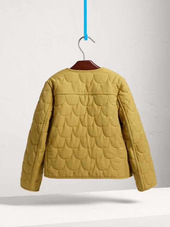Collarless Scallop-quilted Jacket in Dusty Citrine - Girl | Burberry - cell image 3