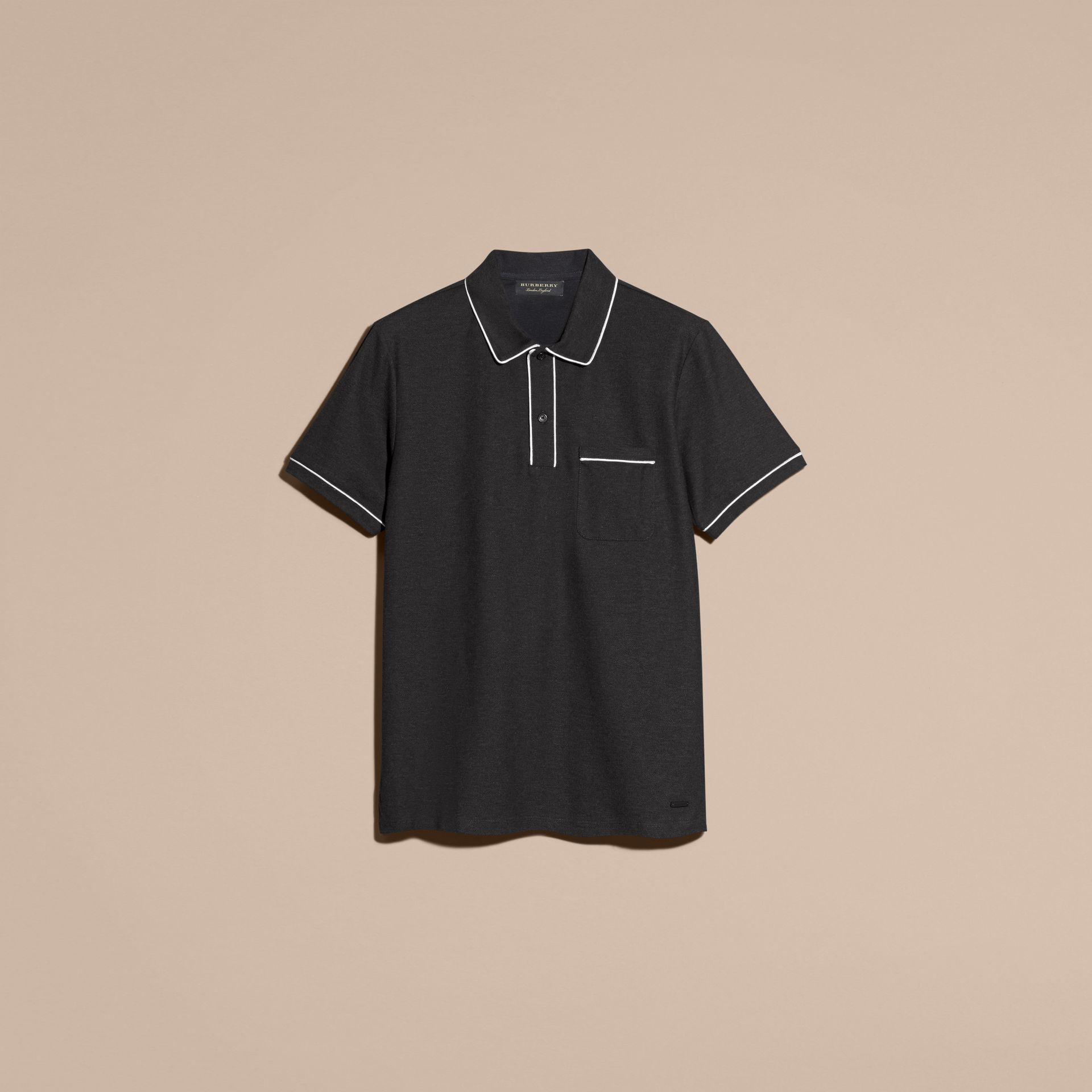 Charcoal Piped Cotton Piqué Polo Shirt Charcoal - gallery image 4