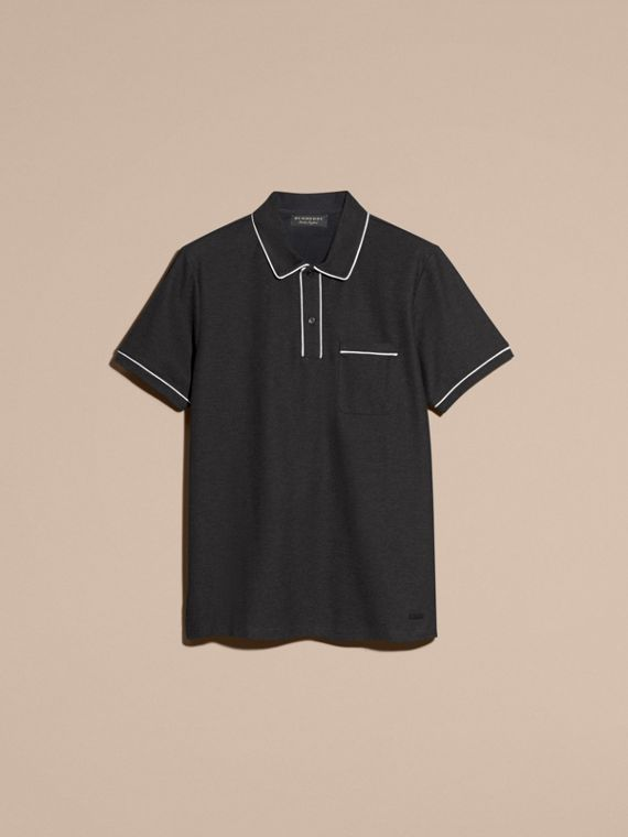 Charcoal Piped Cotton Piqué Polo Shirt Charcoal - cell image 3