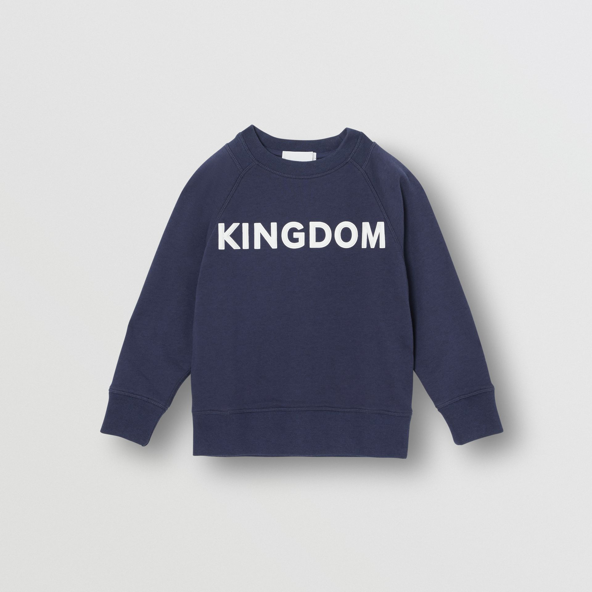 Kingdom Motif Cotton Sweatshirt in Slate Blue Melange | Burberry - gallery image 0