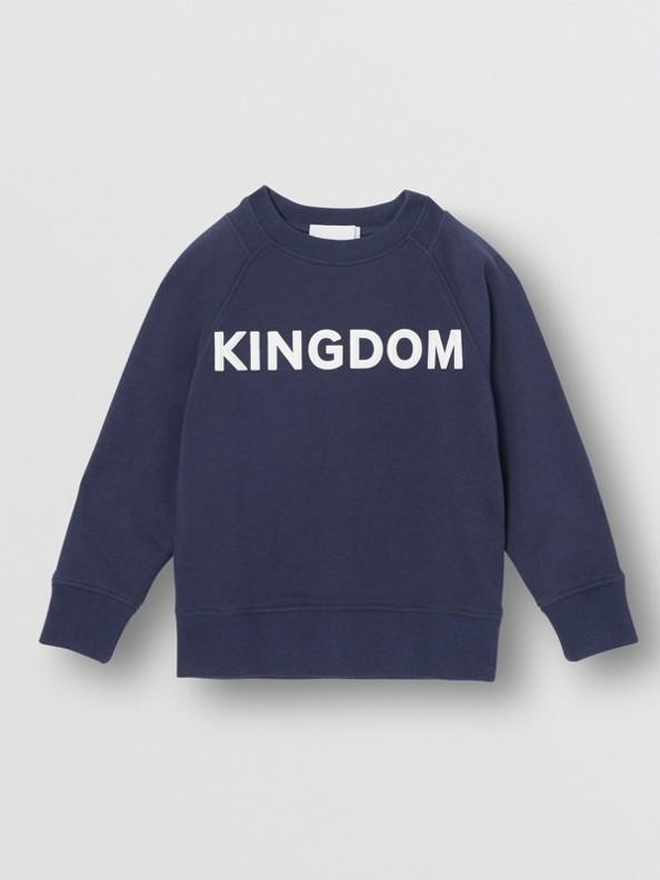 Kingdom Motif Cotton Sweatshirt in Slate Blue Melange