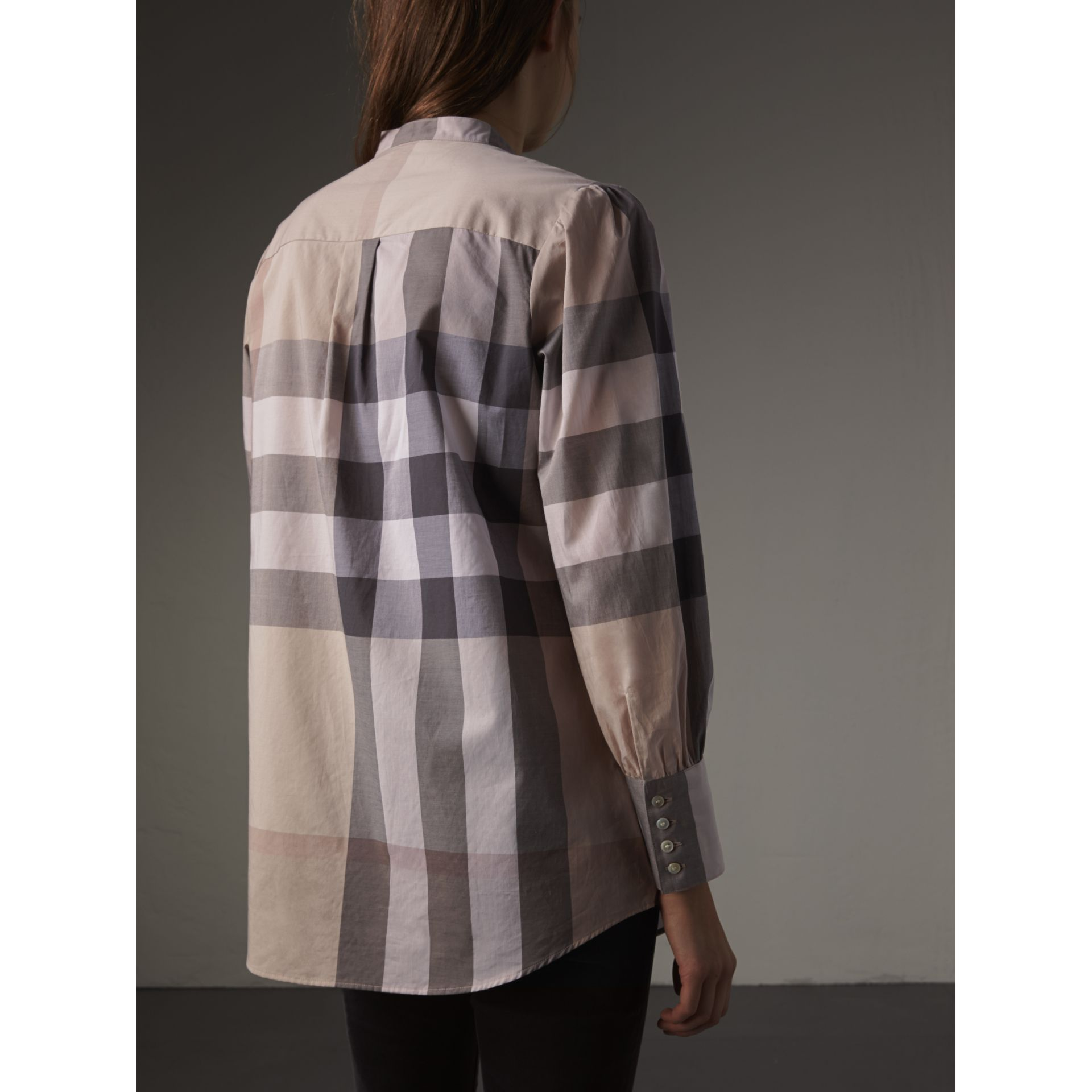 Grandad Collar Check Cotton Tunic Shirt in Pale Stone - Women | Burberry United Kingdom - gallery image 3