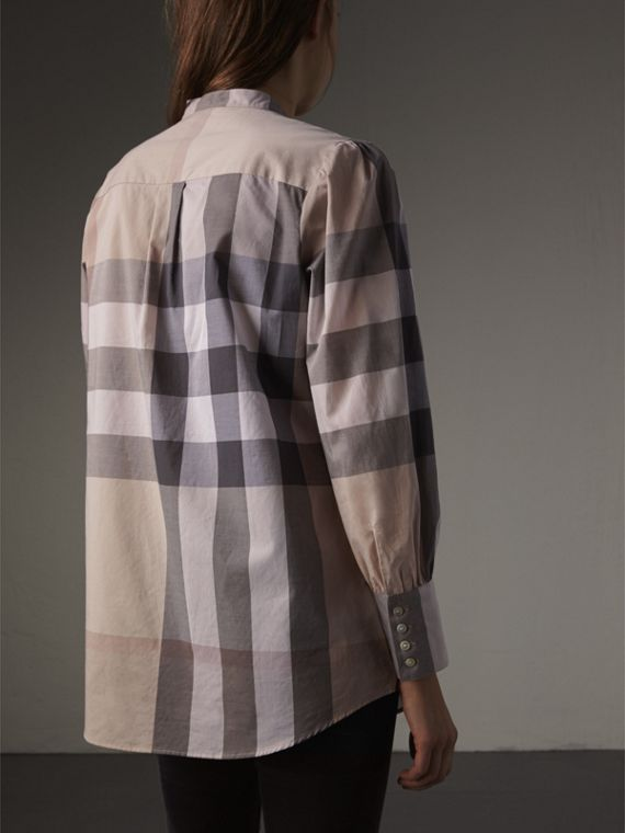 Grandad Collar Check Cotton Tunic Shirt in Pale Stone - Women | Burberry - cell image 2