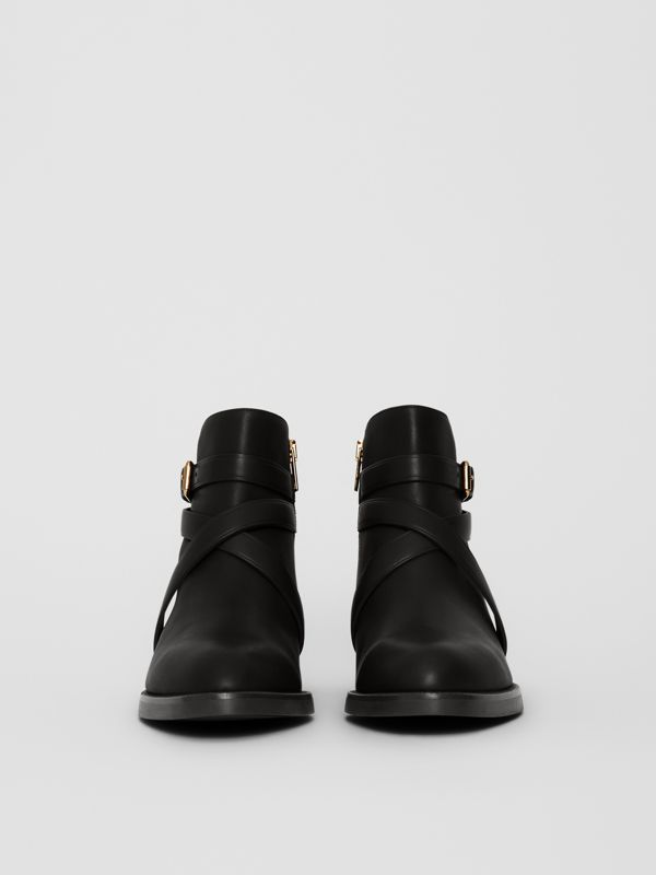 Bottines à bride en cuir et coton House check (Noir) - Femme | Burberry Canada - cell image 3