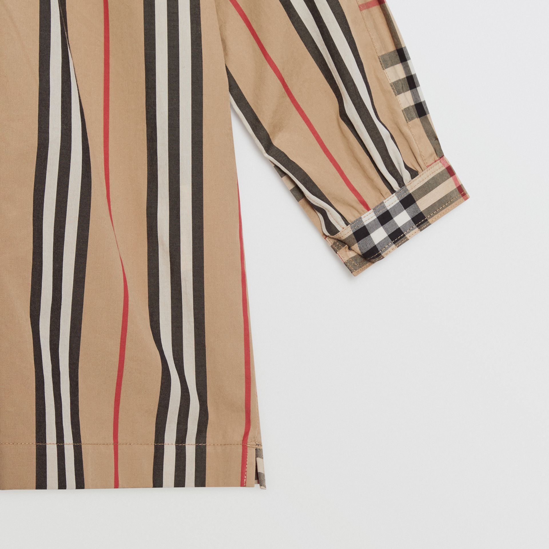 Icon Stripe and Vintage Check Cotton Blouse in Archive Beige | Burberry Australia - gallery image 4