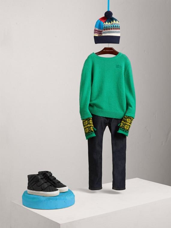 Suéter de cashmere com reforço xadrez nos cotovelos (Verde Intenso)