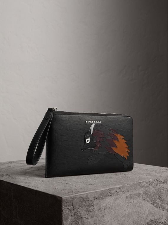 Beasts Motif Leather Travel Wallet in Black