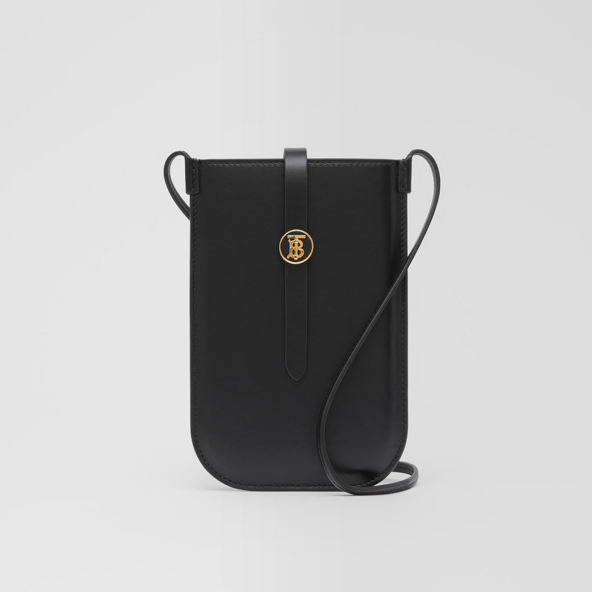 Leather Phone Case with Strap in Black | Burberry United Kingdom - gallery image 0