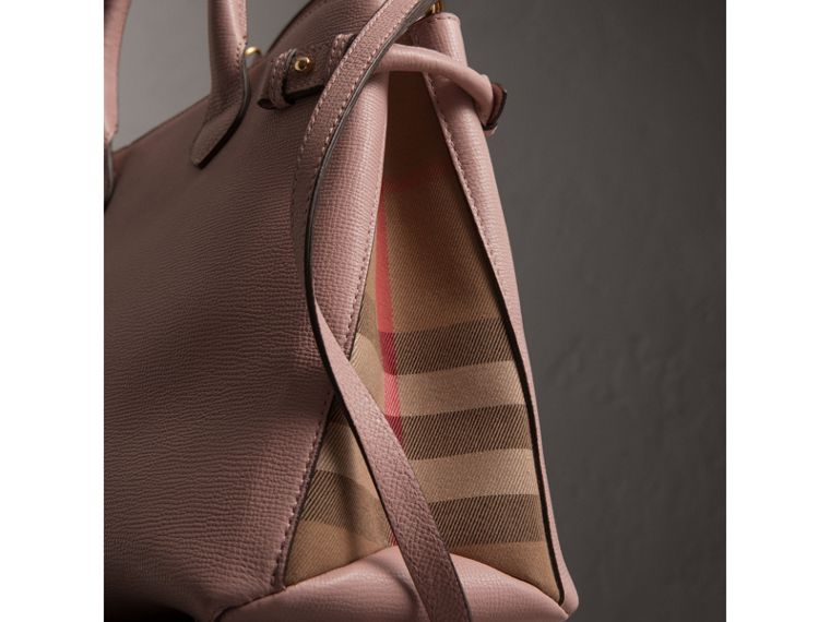 The Banner media in pelle con motivo House check (Orchidea Chiaro) - Donna | Burberry - cell image 1